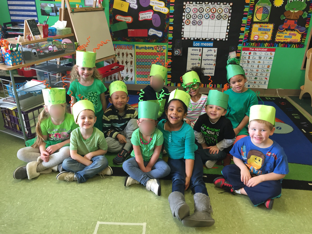Pre-K class dressed up for St. Patrick's Day