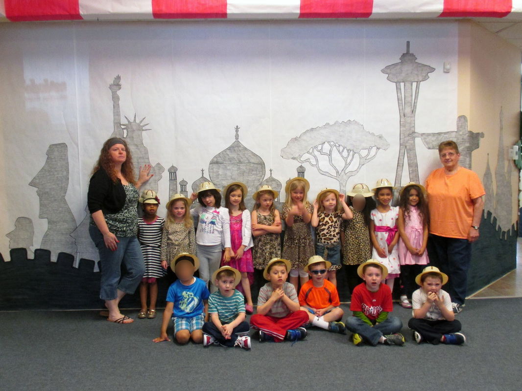 Kindergarten class in safari hats